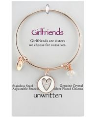 Image of Unwritten Two-Tone Girlfriends Heart Charm Bangle Bracelet in Rose Gold-Tone Stainless Steel