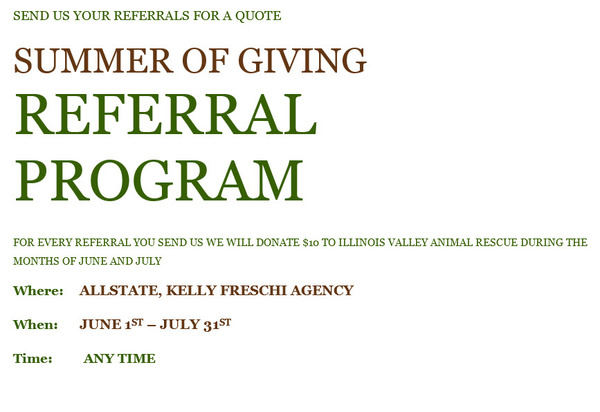 Kelly Freschi - Summer of Giving Referral Program