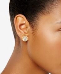 Image of Charter Club Gold-Tone Pavé Disc Stud Earrings, Created for Macy's