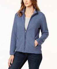 Image of Karen Scott Petite Quilted Fleece Zip-Up Jacket, Created for Macy's