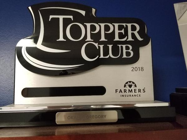 Topper Club Award Plaque
