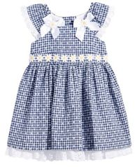 Image of Bonnie Baby Floral-Print Gingham Dress, Baby Girls