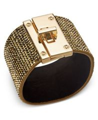 Image of Thalia Sodi Gold-Tone Yellow Pavé Black Faux Suede Wrap Bracelet, Created for Macy's