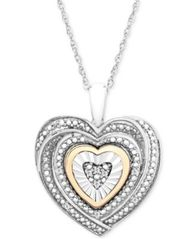 Image of Diamond Accent Two-Tone Heart Pendant Necklace in Sterling Silver and 10k Gold