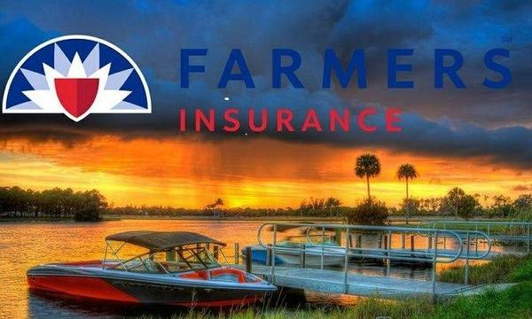 Farmers Insurance logo laid over an image of a sunset over a lake with a boat in the foreground