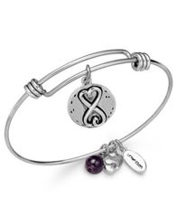 Image of Unwritten Sisters Charm and Amethyst (8mm) Bangle Bracelet in Silver-Plated Stainless Steel