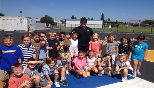 Volunteering as P.E. Coach at Mariners Elementary School in Newport Beach.