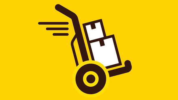 illustration of hand truck with packages stacked