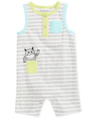 Image of First Impressions Striped Monster Cotton Romper, Baby Boys (0-24 months), Created for Macy's