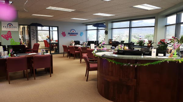 Agency office decorated for spring
