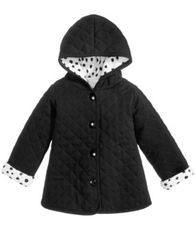 Image of First Impressions Hooded Reversible Quilted Cotton Jacket, Baby Girls (0-24 months), Created for Mac