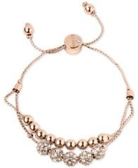 Image of GUESS Rose Gold-Tone Pavé Beaded Double-Row Slider Bracelet