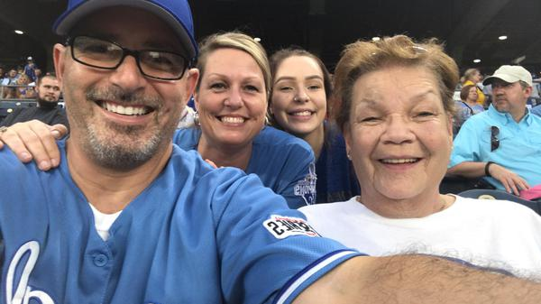Enjoying Royals game with Mom and Family