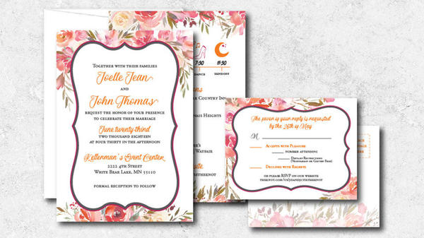 samples of printed wedding invitations