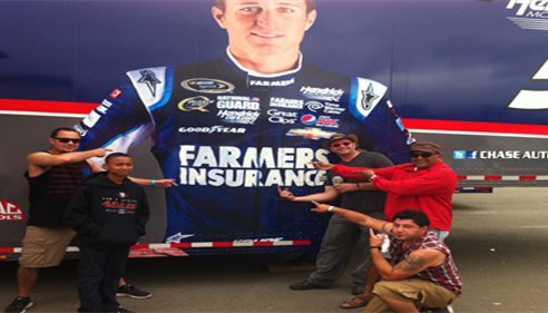 Having an awesome day celebrating the Farmers Insurance experience at Sonoma Raceway.