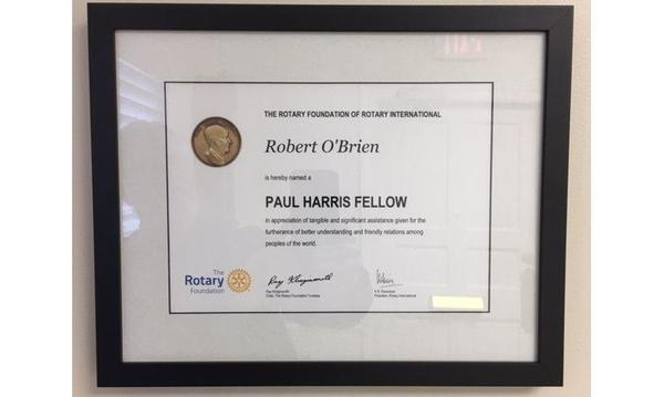 Bob became a Rotary Club Paul Harris fellow in 2015