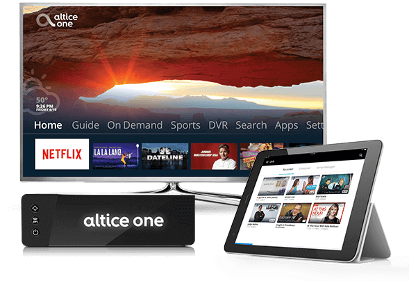 Photo of Altice One all-in-one router with a TV screen and a mobile tablet both displaying viewing options