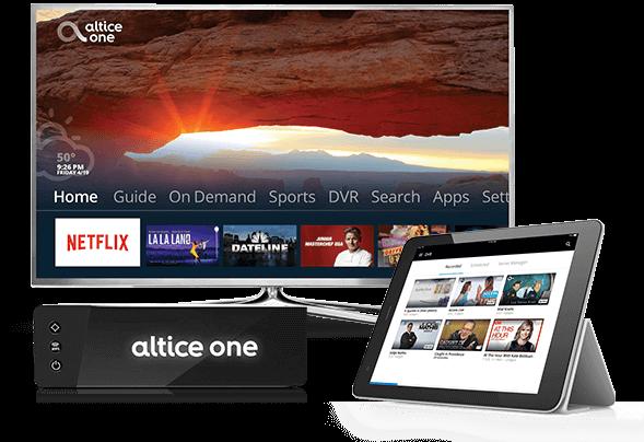 Foto de enrutador todo en uno Altice One con una pantalla de televisor y una tablet móvil donde se muestran opciones para ver