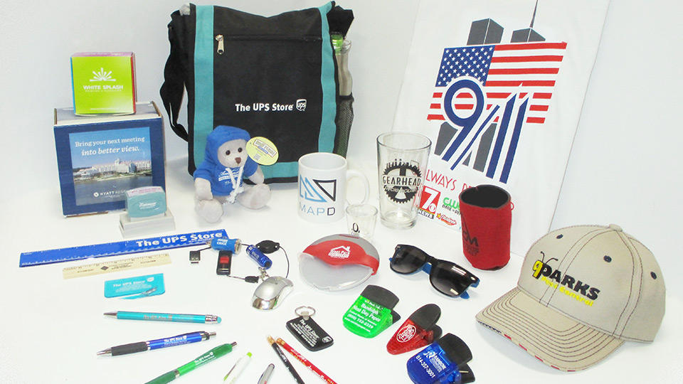 assortment of custom printed promotional items