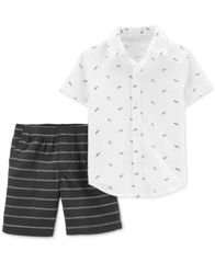 Image of Carter's Baby Boys 2-Pc. Cotton Printed Shirt & Striped Shorts Set