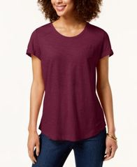 Image of Style & Co Cuffed-Sleeve Cotton T-Shirt, Created for Macy's