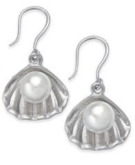 Image of Charter Club Silver-Tone & Imitation Pearl Shell Drop Earrings, Created for Macy's