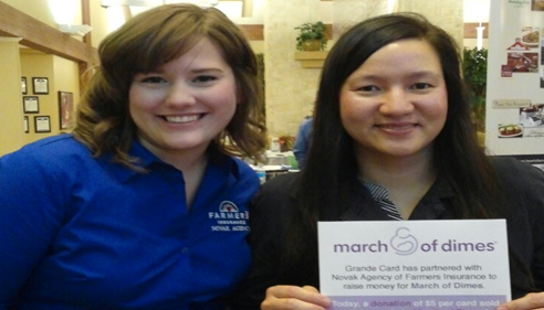 Lizzie and Lisa of Grande Cards selling for March of Dimes, 2013.
