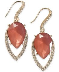 Image of I.N.C. Gold-Tone Crystal & Stone Drop Earrings, Created for Macy's
