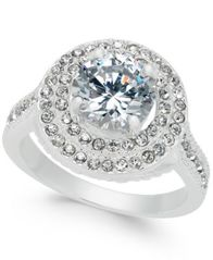 Image of Charter Club Silver-Tone Crystal Halo Ring, Created for Macy's