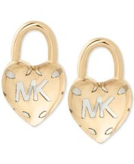 Image of Michael Kors Two-Tone Logo Heart Padlock Stud Earrings