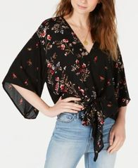 Image of Polly & Esther Juniors' Printed Tie-Front Dolman Top