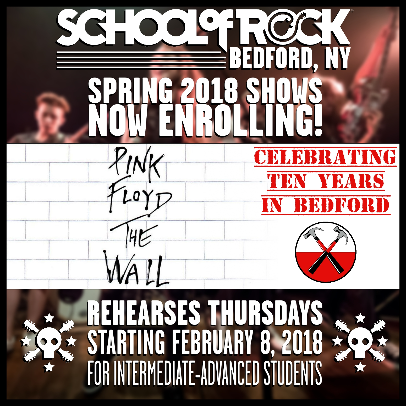 Drum guitar lessons in bedford new york school of rock image of spring 2018 show 3pink floyd the wall hexwebz Choice Image