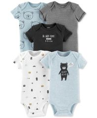 Image of Carter's Baby Boys 5-Pack Printed Cotton Bodysuits