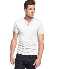 Image of Alfani Men's Stretch Solid Slim-Fit, Henley T-Shirt, Created for Macy's