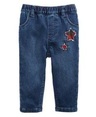 Image of First Impressions Baby Girls Star Patch Denim Jeans, Created for Macy's