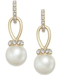 Image of Charter Club Imitation Pearl and Pavé Drop Earrings, Created for Macy's