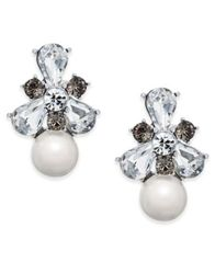Image of Charter Club Silver-Tone Crystal & Imitation Pearl Drop Earrings, Created for Macy's