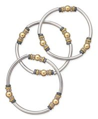 Image of Nine West Tri-Tone 3-Pc. Set Metal Bangle Decorated Stretch Bracelets