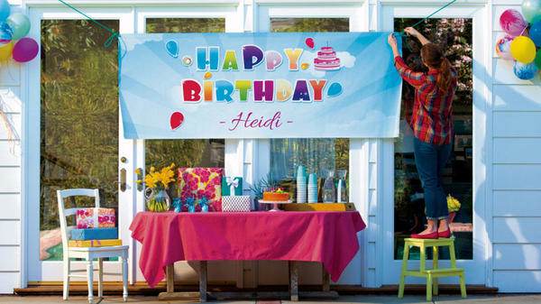 Hanging banner for birthday party