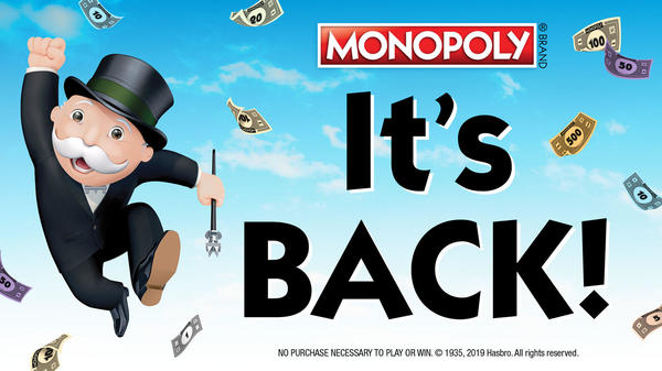 MONOPOLY It's Back! MONOPOLY Man jumping in the air.