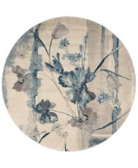 "Image of CLOSEOUT! Nourison Somerset Ivory/Blue Art Flower 5'6"" Round Rug"