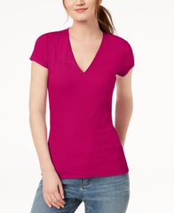 Image of I.N.C. Ribbed V-Neck Top, Created for Macy's