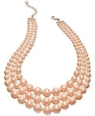 Image of Charter Club Imitation Pearl Three-Row Collar Necklace, Created for Macy's