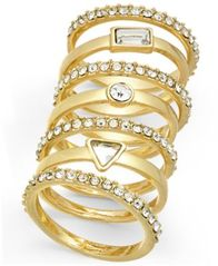 Image of I.N.C. Gold-Tone 7-Pc. Set Crystal Stackable Rings, Created for Macy's