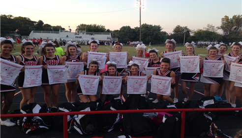 Grove High School Cheerleaders with our RALLY TOWELS!