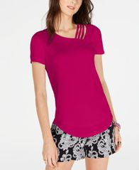Image of I.N.C. Short-Sleeve Asymmetrical Strappy Top, Created for Macy's