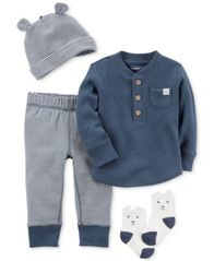 Image of Carter's 4-Pc. Cotton Hat, Top, Pants & Socks Set, Baby Boys