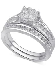 Image of Diamond Bridal Channel Set (1 ct. t.w.) in 14k White, Yellow or Rose Gold