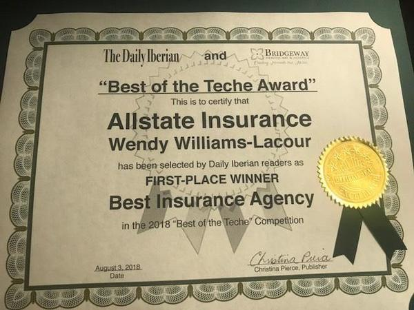 Wendy Williams-Lacour - Lacour Allstate Agency back-to-Back Winners for Local Award