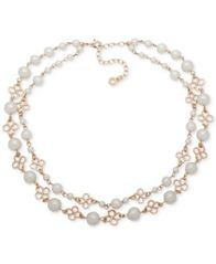 "Image of Anne Klein Gold-Tone Imitation Pearl Double-Row Collar Necklace, 13"" + 3"" extender"